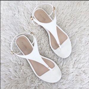 Aldo White T Strap Slingback Sandals Size 8